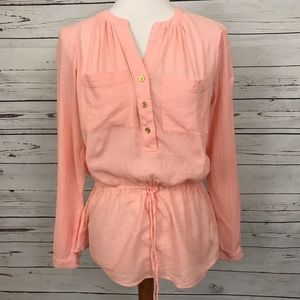 MICHAEL Michael Kors Long Sleeve Blouse Peach Sz S